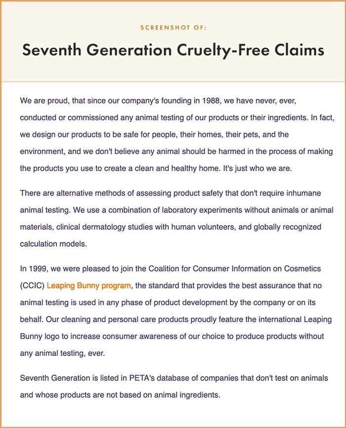 Seventh Generation Cruelty-Free Claims
