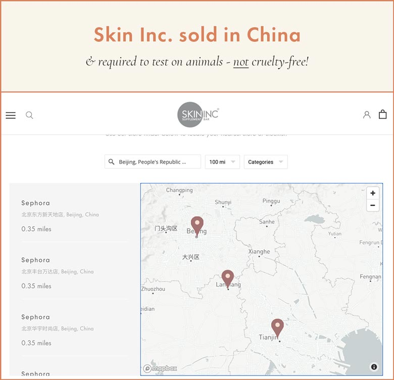 Skin Inc Supplement Bar Sold in China. Cannot Be Cruelty-Free!