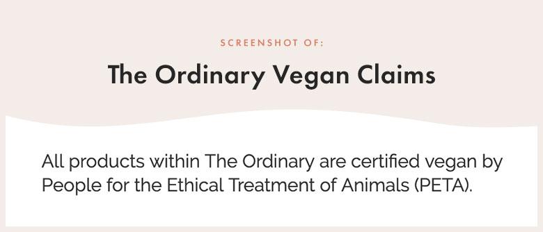 The Ordinary Vegan Claims