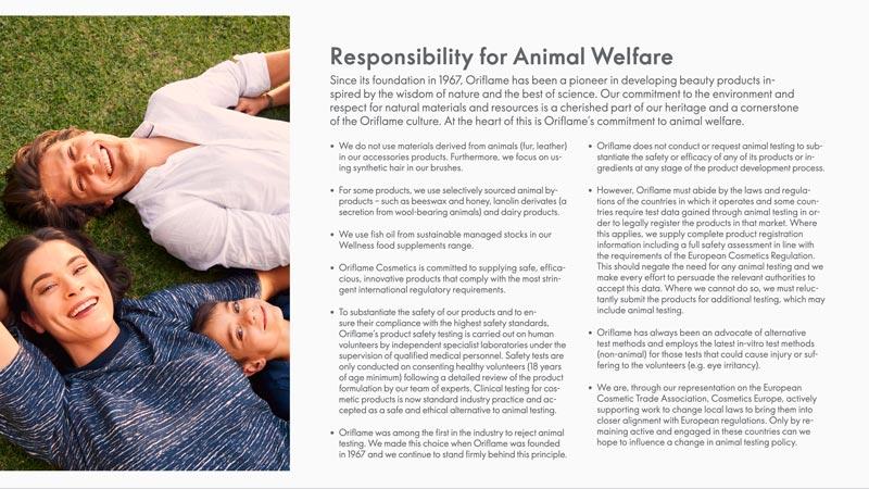 Oriflame Responsibility for Animal Welfare