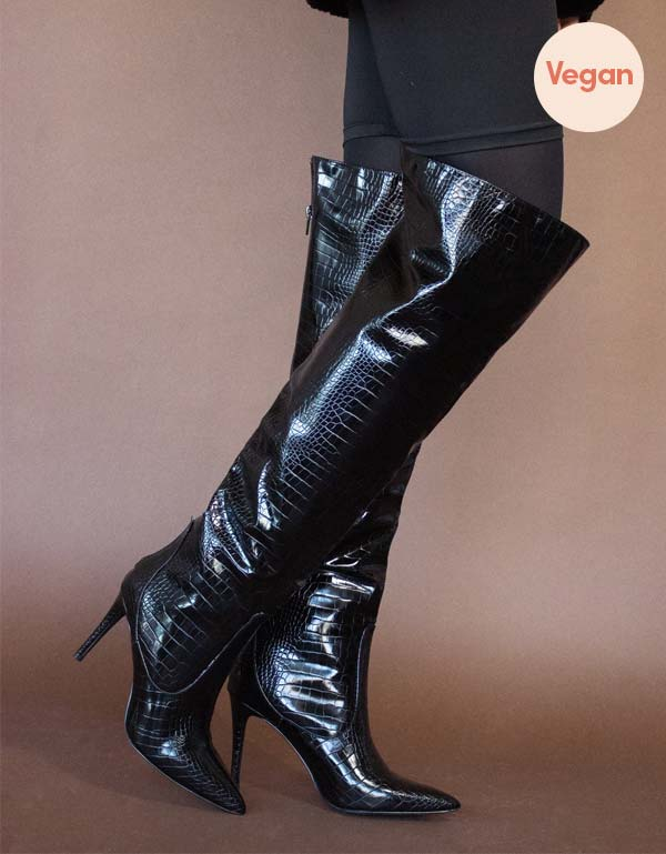 Exotic Vegan Leather Knee High Boot in Black by Blue District