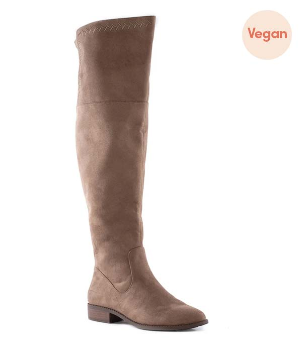 Taupe Vegan Suede Over the Knee Tall Boots by BC Footwear