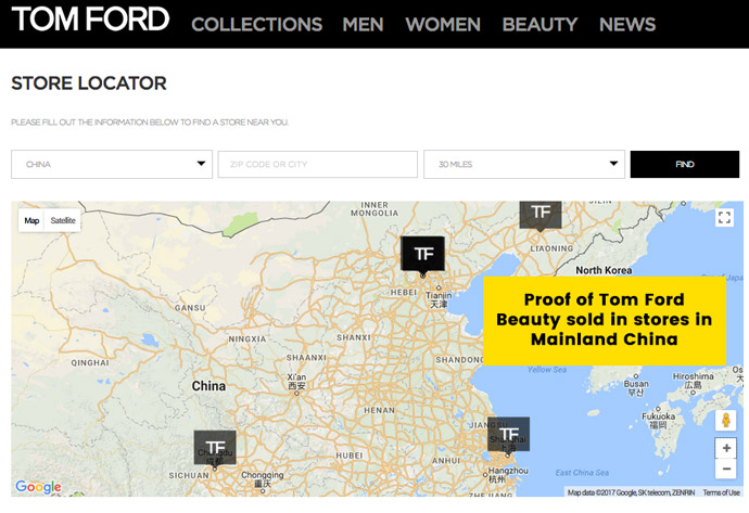 Tom Ford Beauty sold in China; Cannot be Cruelty-Free