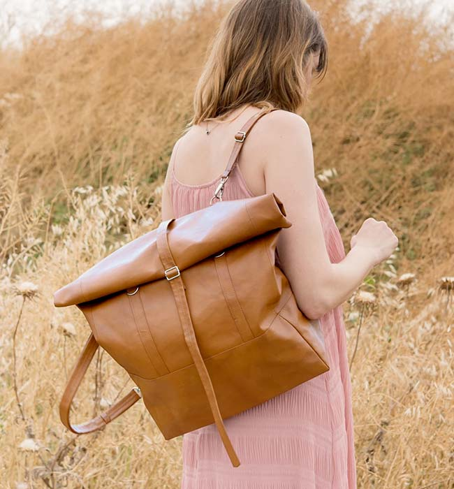 Convertible Vegan Leather Backpack Tote by Lee Coren