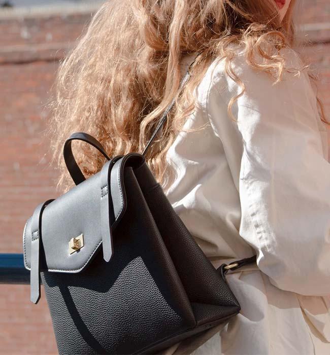 Cute Black Vegan Leather Backpack by Melie Bianco