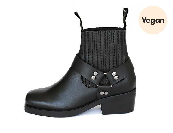 Black Ankle Motorcycle Vegan Boots 'Eddie'