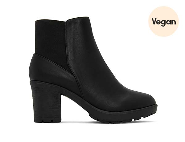 Black Vegan Leather Heel Booties 'Montroyal'