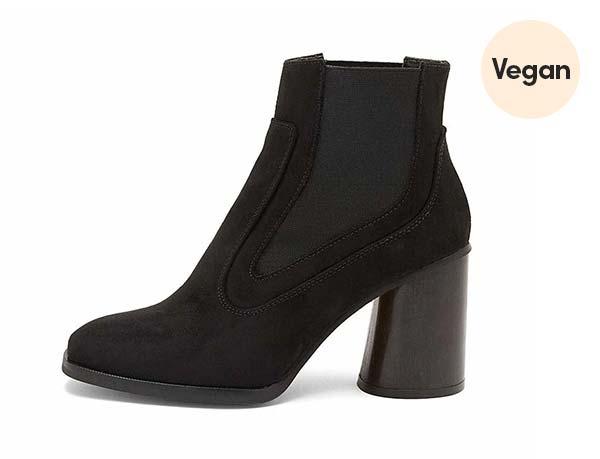 Recycled Vegan Suede 'Elisabet' Black Heeled Boots