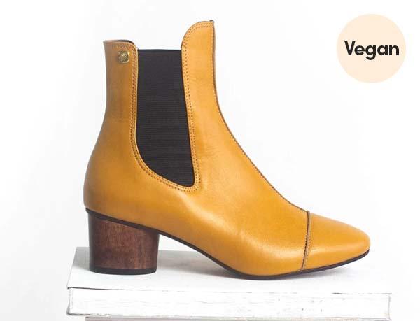 Wooden Heel Vegan Chelsea Boots