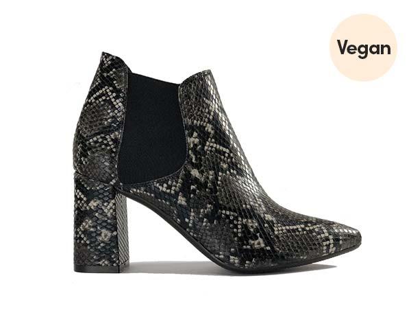 Zette Shoes Vegan Leather Snake Skin Chelsea Heel Booties