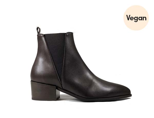 Vegan Leather 'Nerrie' Chelsea Bootie in Dark Chocolate by Zette Shoes