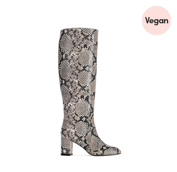 'Gisele' Natural Vegan Python-Effect Knee Boots by AERA