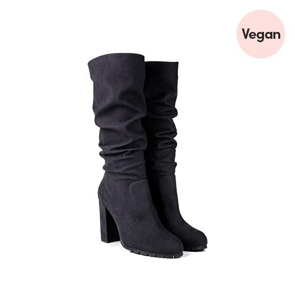 'Anna' Black High Heel Vegan Slouch Boots