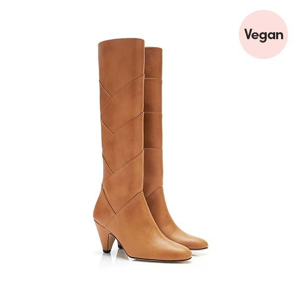 Roxie B Camel Vegan Leather Knee High Vegan Boots