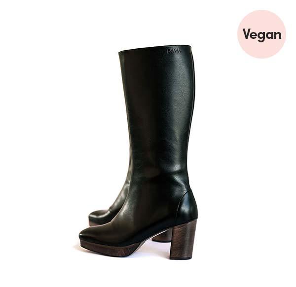 'Ziggy' Wood Platform Tall Vegan Boot