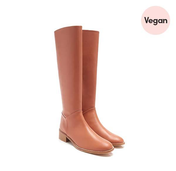 Nova Cognac Faux Leather Vegan Knee High Boot