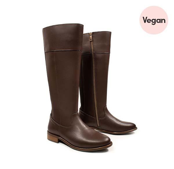 Will's Vegan Knee High Boots in Dark Brown