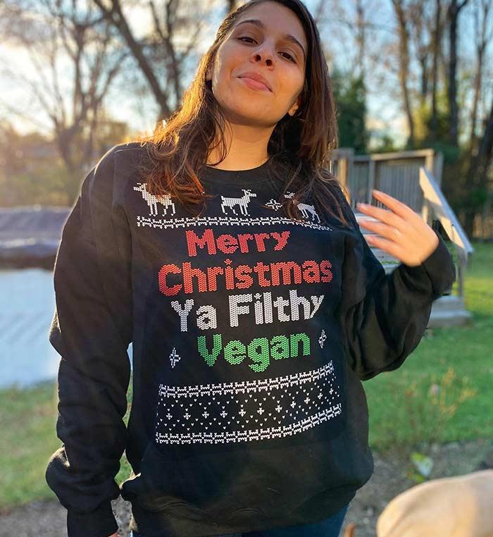Merry Christmas Ya Filthy Vegan Ugly Vegan Christmas Sweater