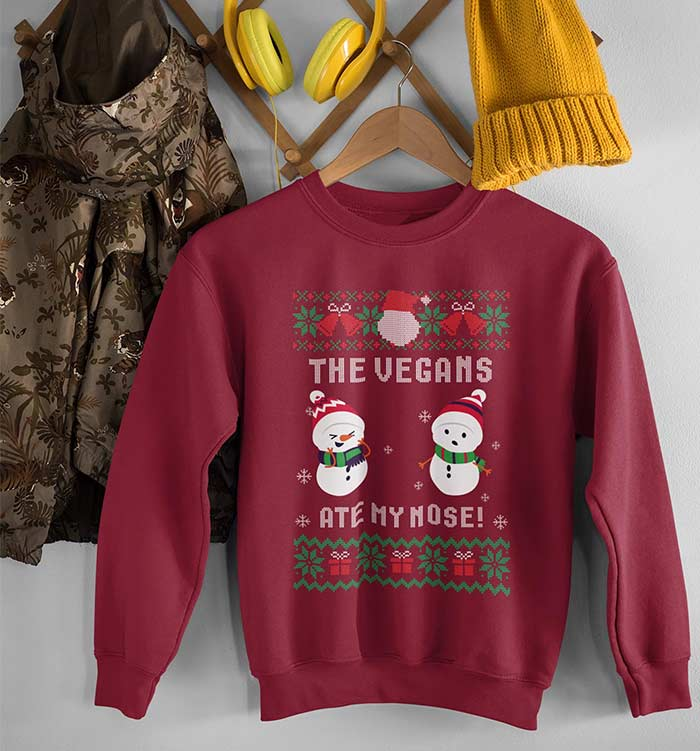 The Vegans Are My Nose! Vegan Christmas Sweater
