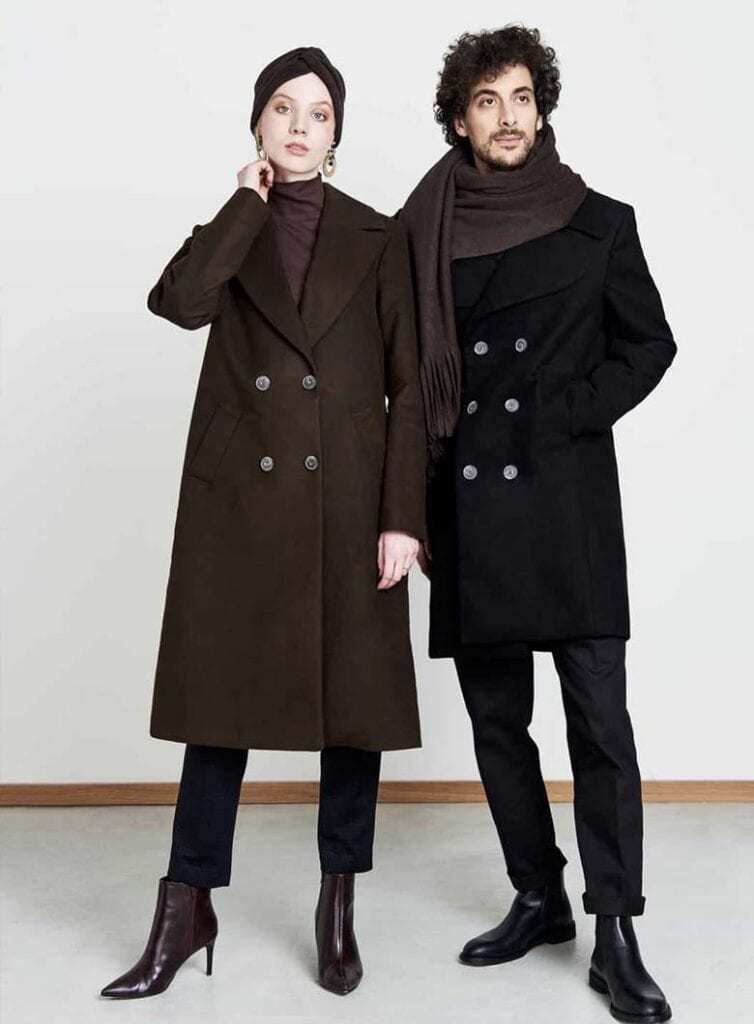 Sleek double-breasted vegan wool coat