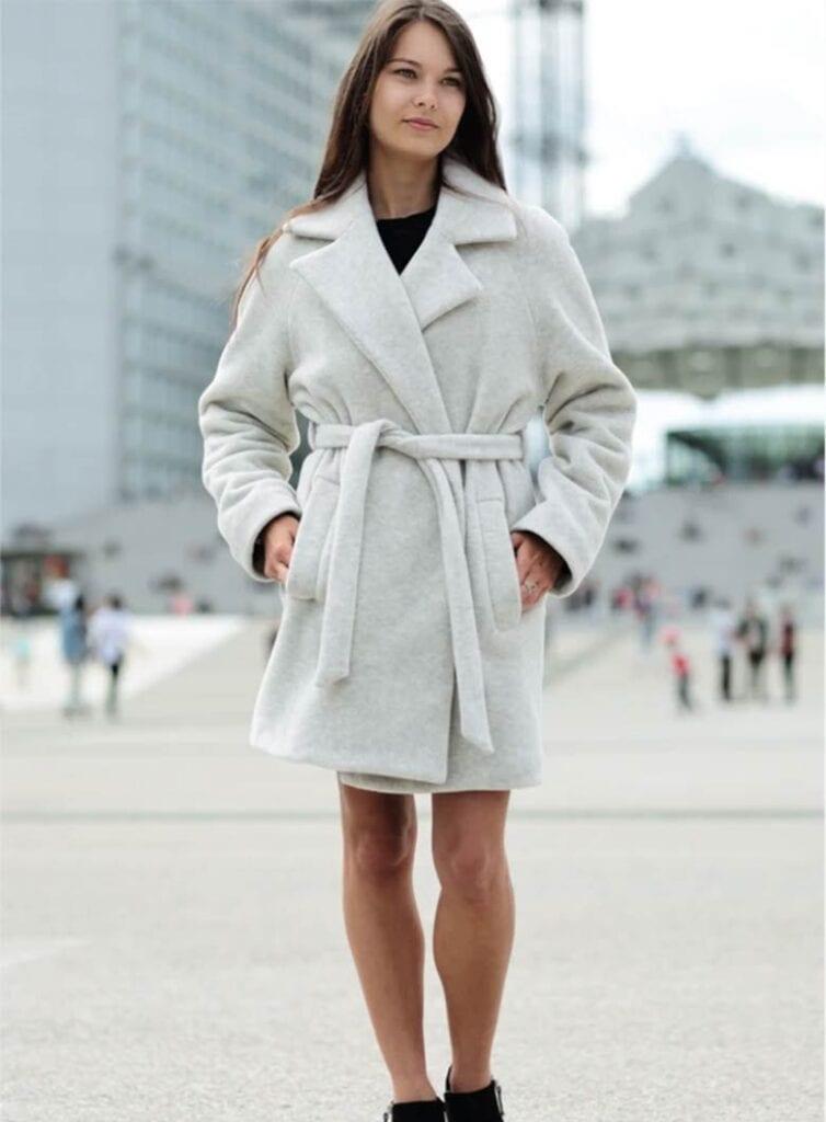 A kimono style belted vegan coat