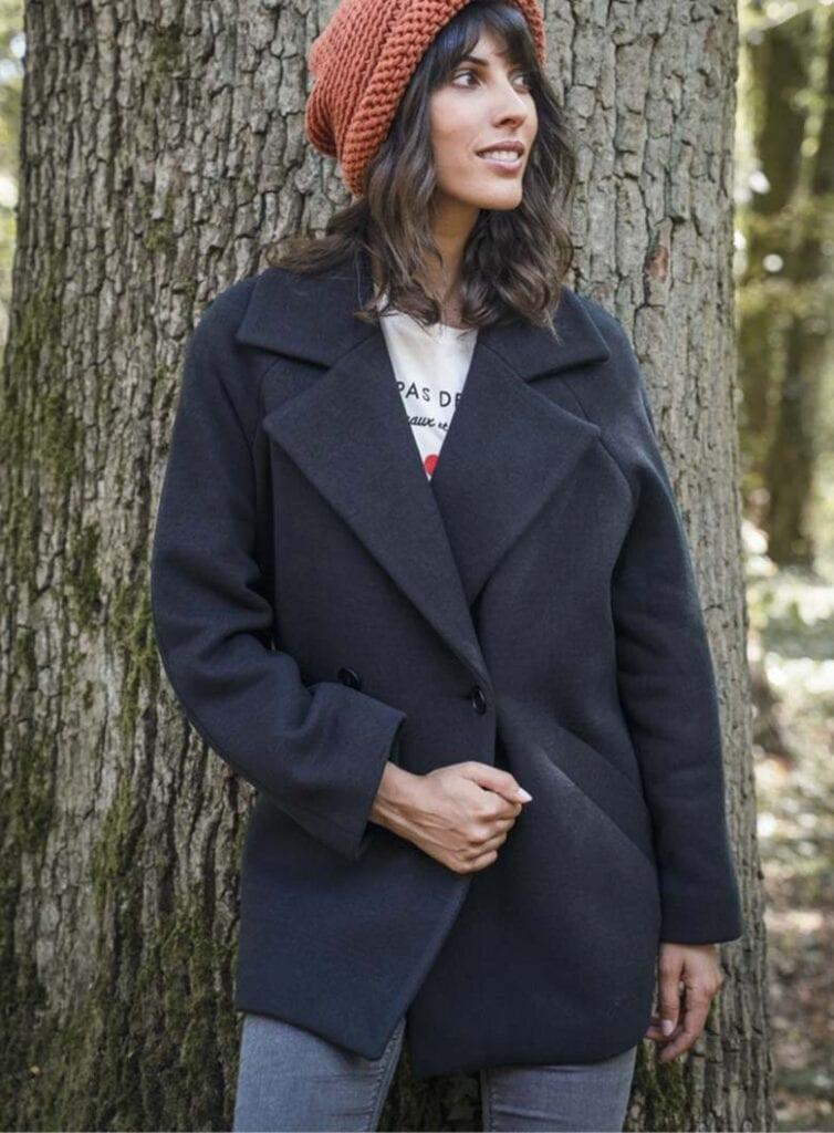 Over-sized vegan wool coat