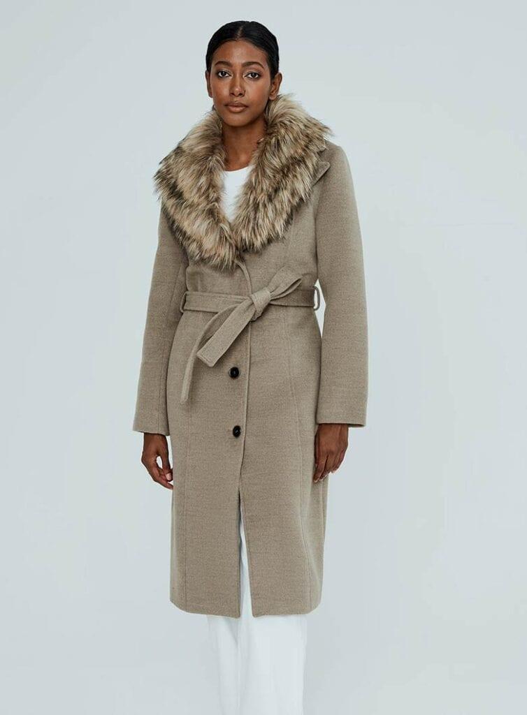 A semi-fitted longline silhouette vegan wool coat