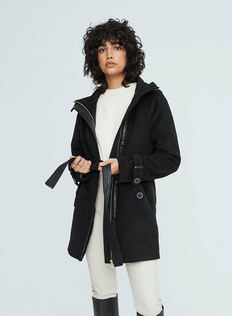 Mid-length style vegan wool coat