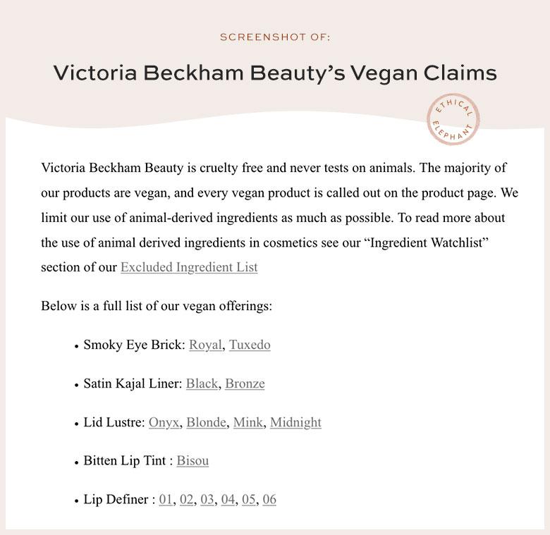 Victoria Beckham Vegan Claims