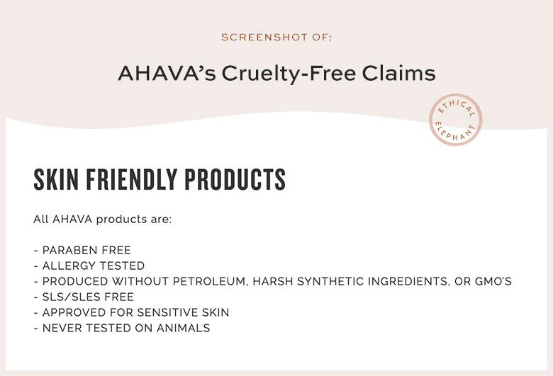AHAVA's Cruelty-Free Claims