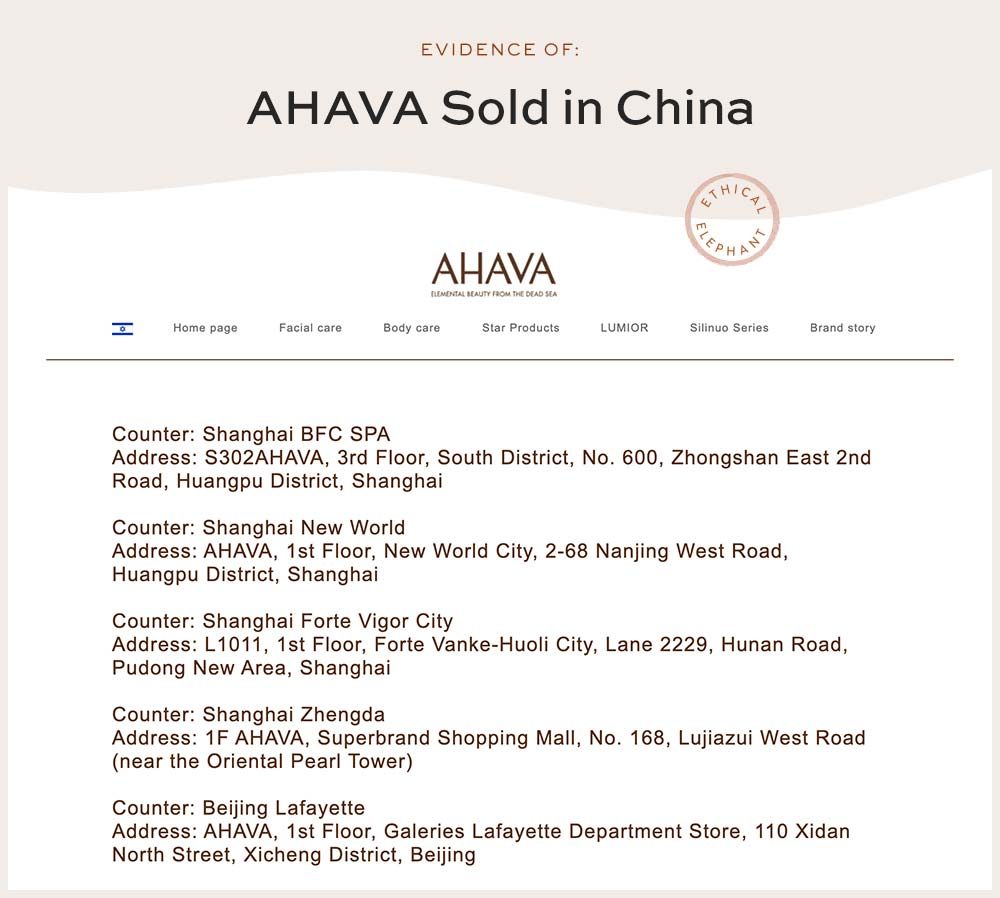 AHAVA list of counters sold in China - NOT Cruelty-Free!