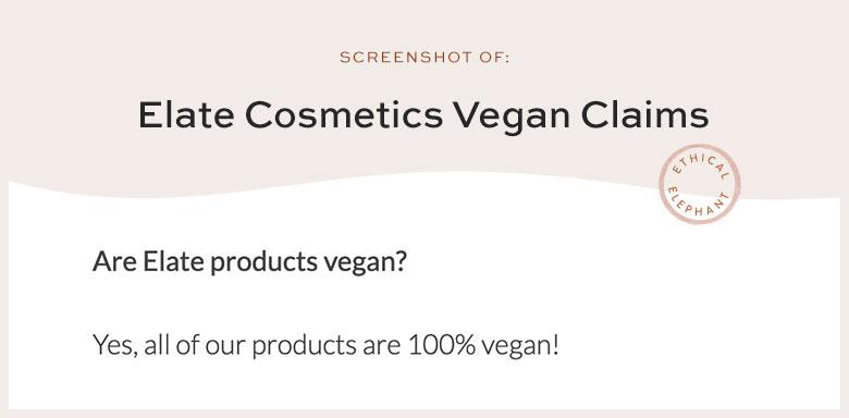 Elate Cosmetics Vegan Claims