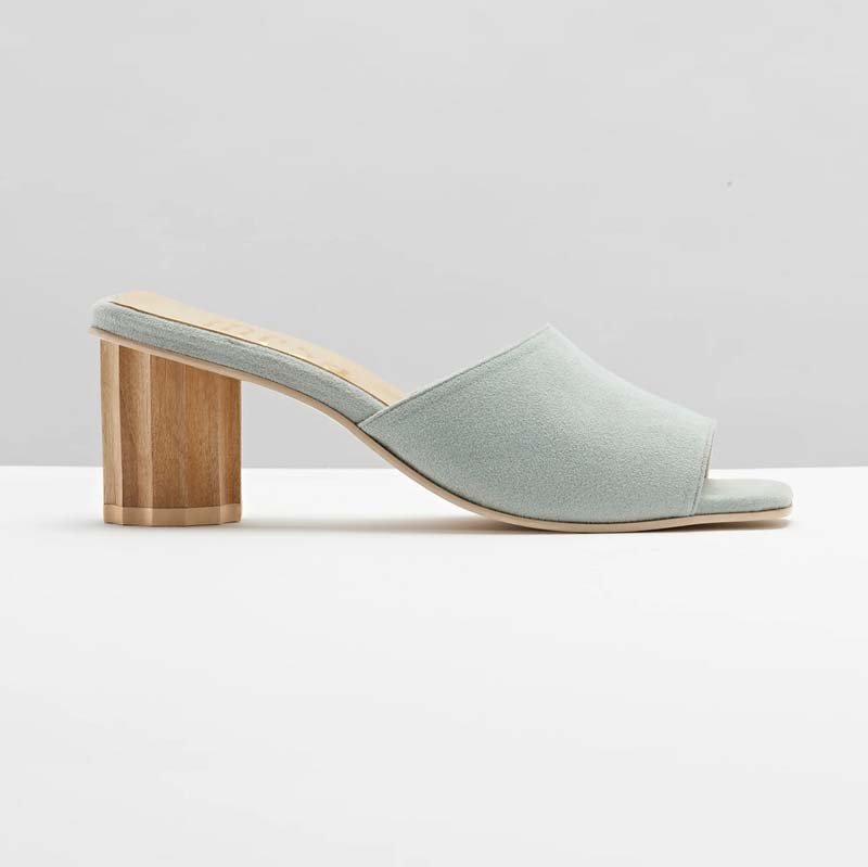 Mesa's Octavia light blue mule sandals